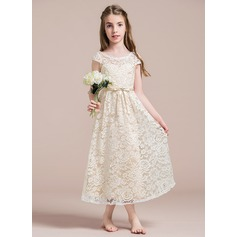 A-Line/Princess Scoop Neck Ankle-Length Lace Junior Bridesmaid Dress With Beading Bow(s)