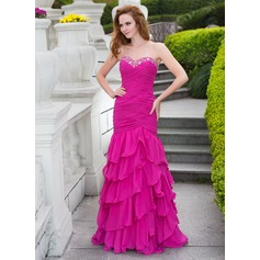 Trumpet/Mermaid Sweetheart Floor-Length Chiffon Prom Dress With Beading Cascading Ruffles