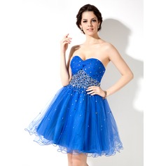 A-Line/Princess Sweetheart Short/Mini Tulle Homecoming Dress With Ruffle Beading Sequins