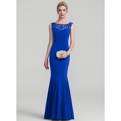 Trumpet/Mermaid Scoop Neck Floor-Length Jersey Evening Dress With Lace