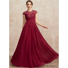 A-Line Scoop Neck Floor-Length Chiffon Lace Evening Dress With Ruffle Sequins (271262525)
