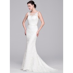Sheath/Column Scoop Neck Sweep Train Lace Wedding Dress