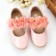 Girl's Closed Toe Leatherette Flat Heel Flats Flower Girl Shoes With Beading Flower
