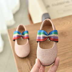 Girl's Round Toe Closed Toe Sparkling Glitter Flat Heel Flats Flower Girl Shoes With Elastic Band