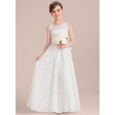 A-Line Scoop Neck Floor-Length Lace Junior Bridesmaid Dress With Sash Bow(s)