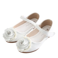 Girl's Closed Toe Mary Jane Microfiber Leather Flower Girl Shoes With Bowknot Velcro