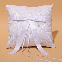 Square Ring Pillow in Satin/Lace With Ribbons/Faux Pearl