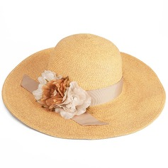 Ladies' Eye-catching/Hottest Cambric/Rattan Straw With Flower Straw Hats/Tea Party Hats