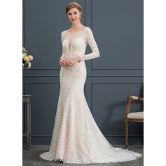 Trumpet/Mermaid Illusion Court Train Lace Wedding Dress