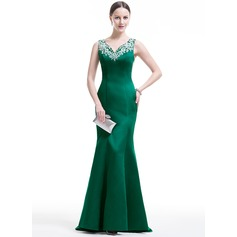 Trumpet/Mermaid V-neck Sweep Train Satin Evening Dress With Beading Appliques Lace Sequins