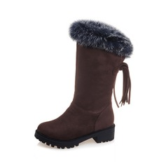 Women's Suede Flat Heel Boots Snow Boots With Tassel Fur shoes