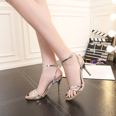Women's Leatherette Stiletto Heel Pumps Sandals Slingbacks With Buckle