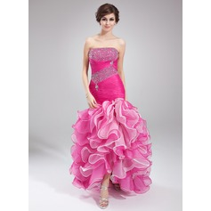 Trumpet/Mermaid Strapless Asymmetrical Organza Prom Dress With Beading Cascading Ruffles