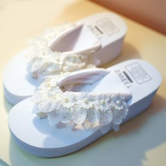 Kvinnor Duk Flat Heel Flip Flops Plattform Beach Wedding Shoes med Satäng Blomma