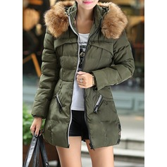 Polyester Long Sleeves Patchwork Down Coats Coats (1004160844)
