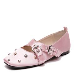 De mujer Satén Tacón plano Planos con Rivet Hebilla zapatos