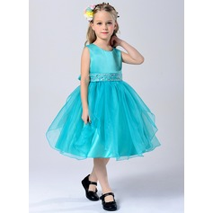 A-Line/Princess Tea-length Flower Girl Dress - Tulle/Polyester Sleeveless Scoop Neck With Sash/Rhinestone