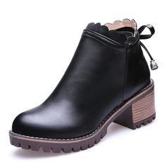 Vrouwen Kunstleer Chunky Heel Pumps Closed Toe Laarzen Enkel Laarzen met Rits Vastrijgen schoenen