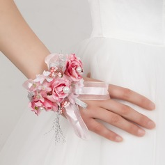 Charming Free-Form Satin/Cotton Wrist Corsage -