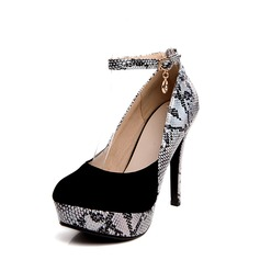 Women's Leatherette Stiletto Heel Pumps With Sparkling Glitter Animal Print Split Joint shoes