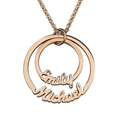 Custom 18k Rose Gold Plated Circle Two Name Necklace - Birthday Gifts Mother's Day Gifts