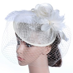 Ladies' Beautiful/Gorgeous/Fashion/Special Cambric With Feather Floppy Hat
