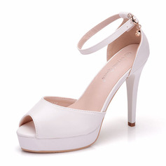 Women's Leatherette Spool Heel Peep Toe Pumps Sandals