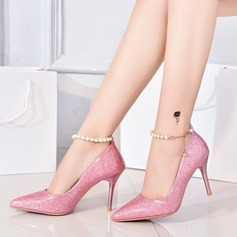 Women's Microfiber Leather Stiletto Heel Pumps Closed Toe With Sequin Sparkling Glitter shoes