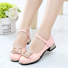 Girl's Leatherette Flat Heel Closed Toe Flats With Rhinestone Velcro