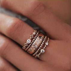 Classic Alloy Women's Fashion Rings (Set of 5)