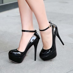 Women's PU Stiletto Heel Pumps Platform Closed Toe With Buckle shoes (085128298)