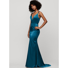 Trumpet/Mermaid V-neck Sweep Train Prom Dresses (272235501)
