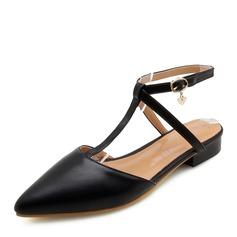 De mujer PU Tacón plano Sandalias Planos Cerrados Solo correa con Cordones zapatos