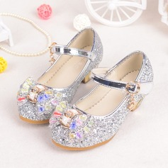 Girl's Closed Toe Sparkling Glitter Flat Heel Flower Girl Shoes With Bowknot Rhinestone Velcro