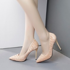 Women's Fabric Stiletto Heel Pumps Closed Toe With Ruffles shoes
