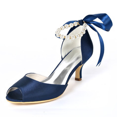 Women's Stiletto Heel Peep Toe With Lace-up Pearl