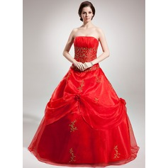 Ball-Gown Strapless Floor-Length Organza Quinceanera Dress With Embroidered Beading Sequins