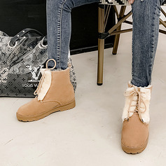 Women's Suede Low Heel Snow Boots With Feather Lace-up shoes