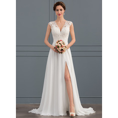 V-neck Sweep Train Chiffon Wedding Dress With Split Front (265253070)