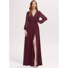 V-Neck Long Sleeves Maxi Dresses (293250305)