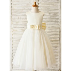 Ball Gown Tea-length Flower Girl Dress - Satin/Tulle Sleeveless Scoop Neck With Bow(s)/V Back