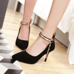 Women's Suede Stiletto Heel Pumps With Rhinestone Chain shoes