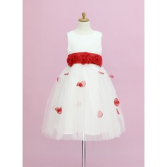 A-Line/Princess Ankle-length Flower Girl Dress - Organza/Satin/Tulle Sleeveless Scoop Neck With Sash/Flower(s)/Bow(s)