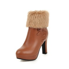 Women's Leatherette Chunky Heel Platform Ankle Boots With Fur shoes