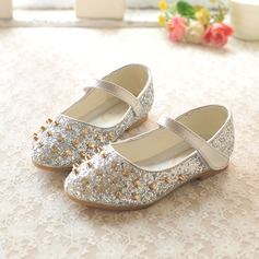 Girl's Closed Toe Sparkling Glitter Flat Heel Flats Flower Girl Shoes With Velcro Rivet