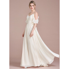 A-Line Floor-Length Chiffon Wedding Dress With Cascading Ruffles