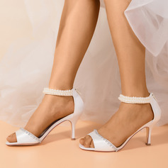 Women's Cloth Satin Stiletto Heel Sandals With Pearl Zipper Chain