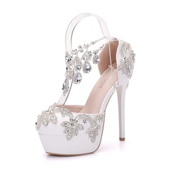 Women's Leatherette Stiletto Heel Closed Toe Platform Pumps With Rhinestone