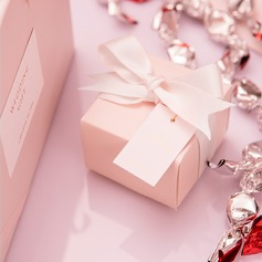 Cubic Card Paper Favor Boxes With Ribbons