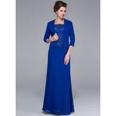 Sheath/Column Square Neckline Floor-Length Chiffon Charmeuse Mother of the Bride Dress With Lace Beading Sequins